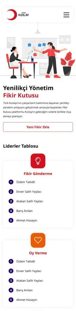 TÜRK KIZILAY TASARIMI, PORTAL, FİKİR KUTUSU, MOBİLE, APP